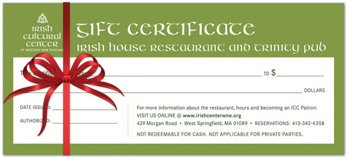 Gift Certificates To The Irish House Restaurant Irish